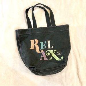 Life is Good Relax Tote Bag in Dark Gray Blue